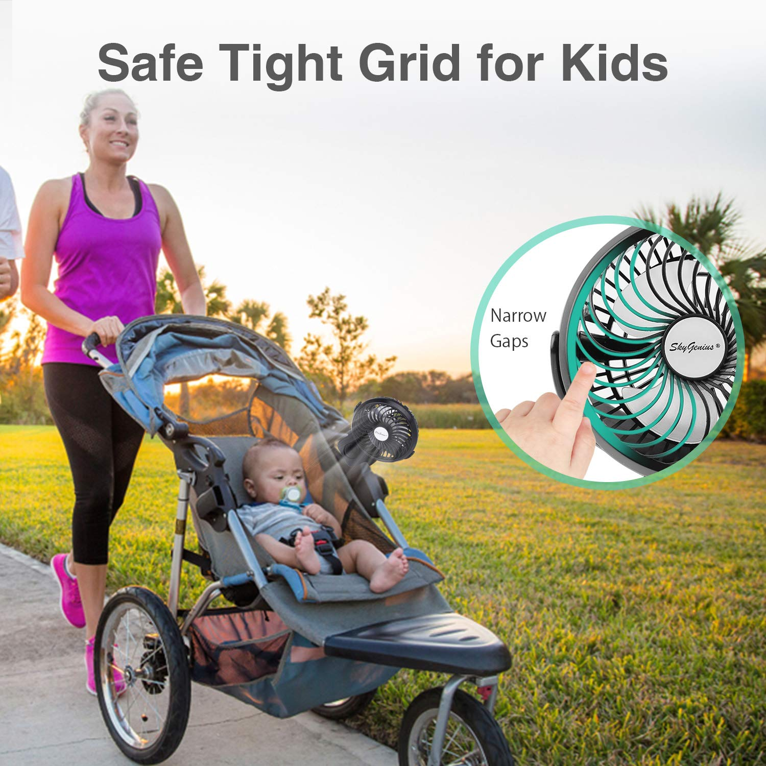 Battery Operated Clip on Stroller Fan - Portable Mini Desk Fan with Rechargeable 4400mAh Battery&USB Cable, USB Powered Clip Fan for Baby Stroller Office Outdoor Travel by BRIGENIUS (Image #5)