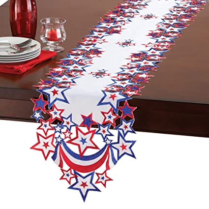 Exceptional Collections 4th Of July Indoor Decoration Table Linens With Embroidered  Patriotic Stars, Runner