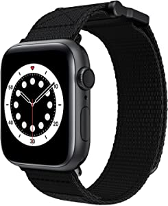 Velcro Watch Band for Apple Watch 42/44mm Men Sport Loop Nylon Adjustable Woven Bands Replacement Strap for Iwatch 42/44mm (Black)