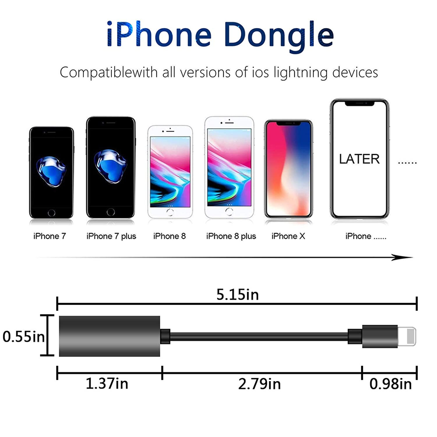 Headphone Adapter for iPhone Charger Jack AUX Audio 3.5 mm Jack Adapter for iPhone Adapter Splitter Earphone for iPhone 7//7p//8//8p//11//X Dongle Accessory Connector Compatible Audio Charge Adapter