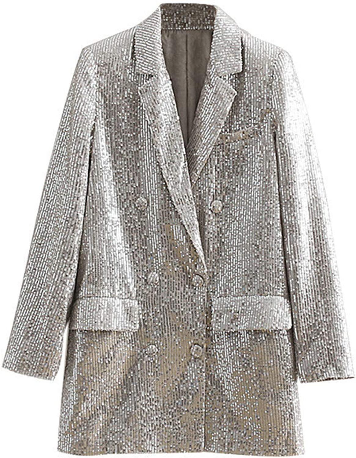 Vintage Double Breasted Sequin Blazers Coat Women Fashion Notched Collar Long Sleeves Outerwear