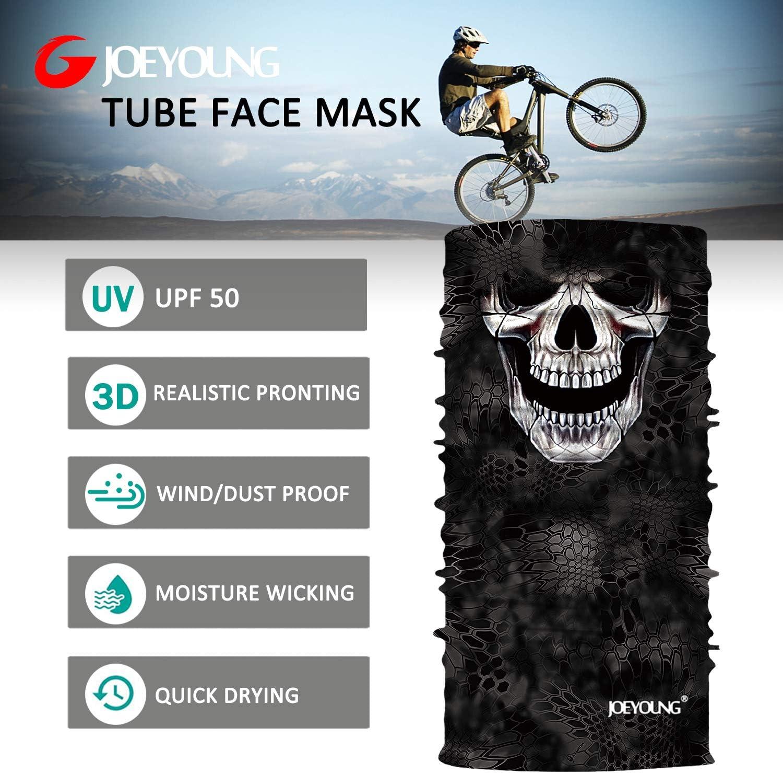 UV Sun Mask Dust Wind Neck Gaiter JOEYOUNG Motorcycle Skull Face Mask for Men Women 3D Seamless Skeleton Half Face Bandanas Balaclava for Riding Halloween Party Clown Headwear Tube Mask Hunting