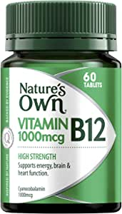 Nature's Own High Strength Vitamin B12 1000mcg - Supports Nervous System - Maintains Heart Health and Function, 60 Tablets