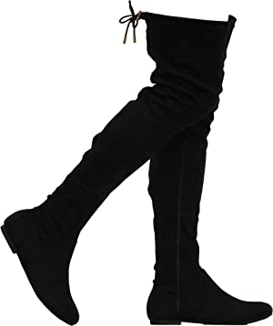 MVE Shoes Womens Fashionable Flat Over The Knee Boots - Comfortable Suede Adjustable Boots