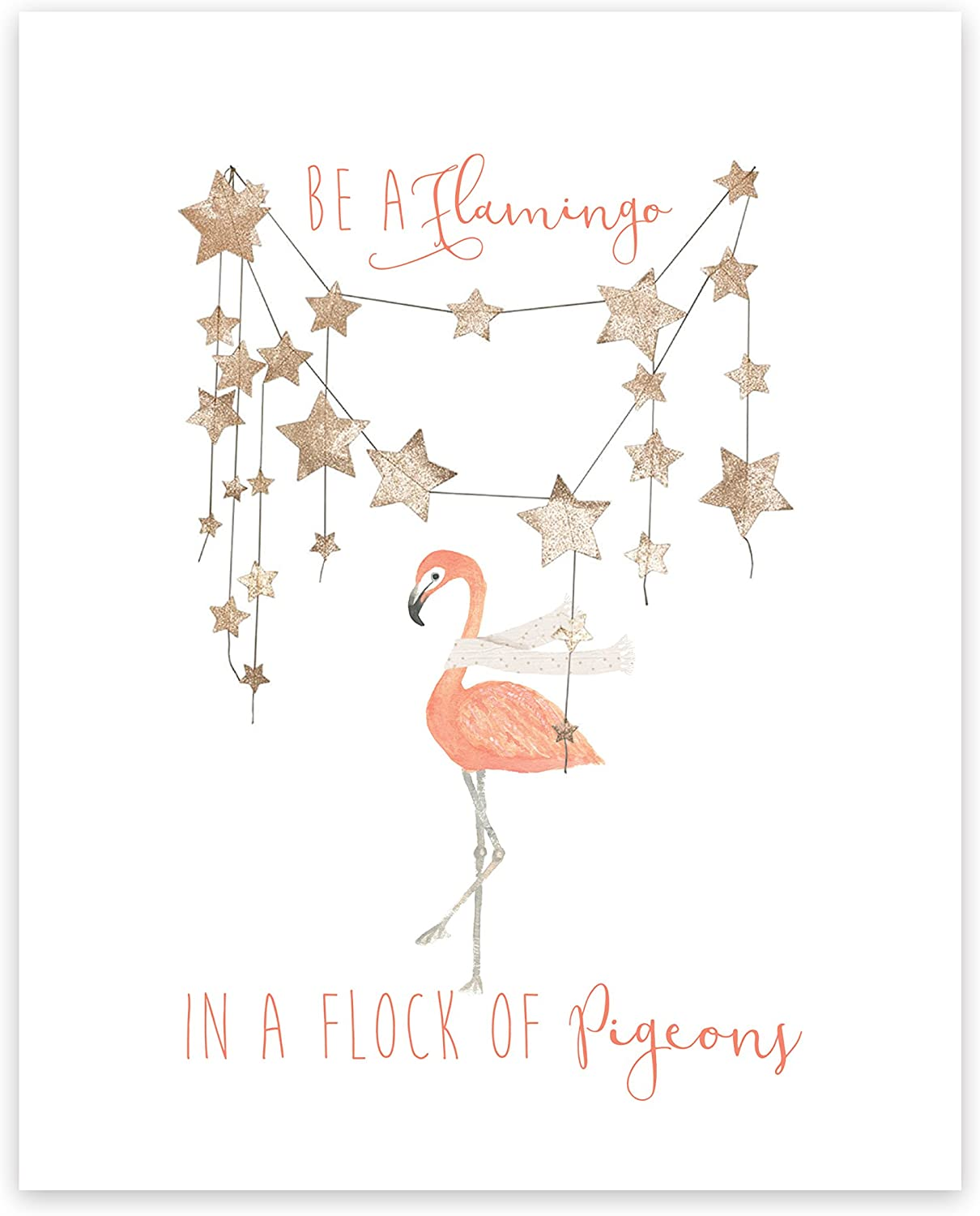 Dictionary Art Print Be a Flamingo Flock of Pigeons Quote Unique Gift