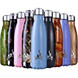 Insulated Water Bottle, 17 Oz Stainless Steel Double Wall Vacuum Sports Drink Bottles, Leak- proof and No Sweating Cola Shape Travel Bottles, Keeps Drinks Cold & Hot for 24 Hours