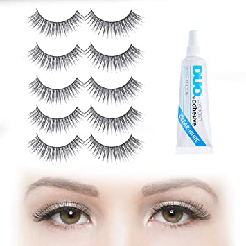 133dfe155e9 Amazon.com : NATURAL-LOOKING FALSE EYELASHES: Long Curved Volume with Duo  Clear Glue | 5 Pair Set of Black False Eyelashes - Strip Falsies for Your  Ultimate ...