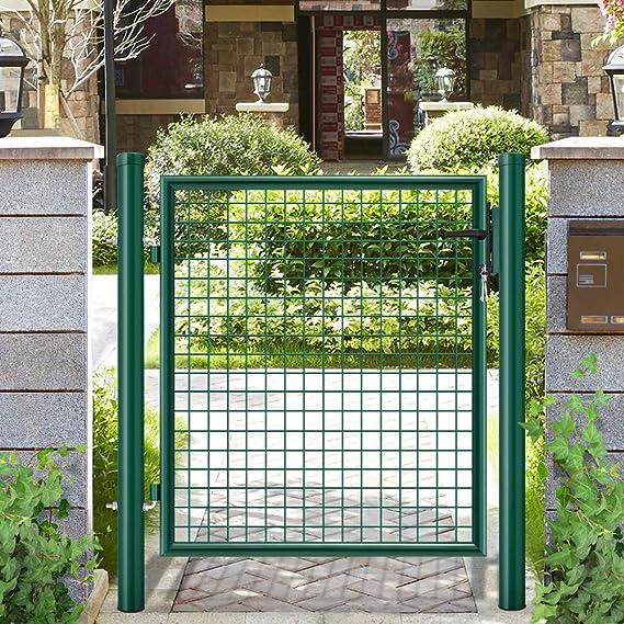 Amagabeli Puerta de Verja Mallada para Jardín Traje de puertas batientes recubiertas de PE galvanizado Patio o terraza de jardín de color verde RAL6005 oscuro 140x100cm: Amazon.es: Bricolaje y herramientas