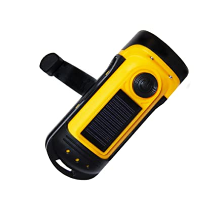 PrimalCamp Hand Crank Solar Powered Flashlight: Rechargeable Survival Gear  LED Self Powered Charging Torch & Dynamo - Best for Fishing Boating Hiking