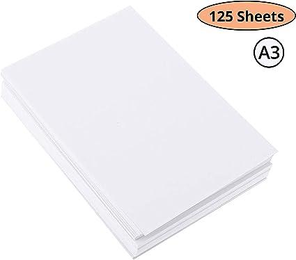 Papel Acuarela A3 - Pack de 125 Hojas Papel Algodón Prensado en Frio – Perfecto para Artistas y Principiantes, Papel Dibujo para Niños Practicar – Papel para Pintar 200GSM: Amazon.es: Oficina y papelería