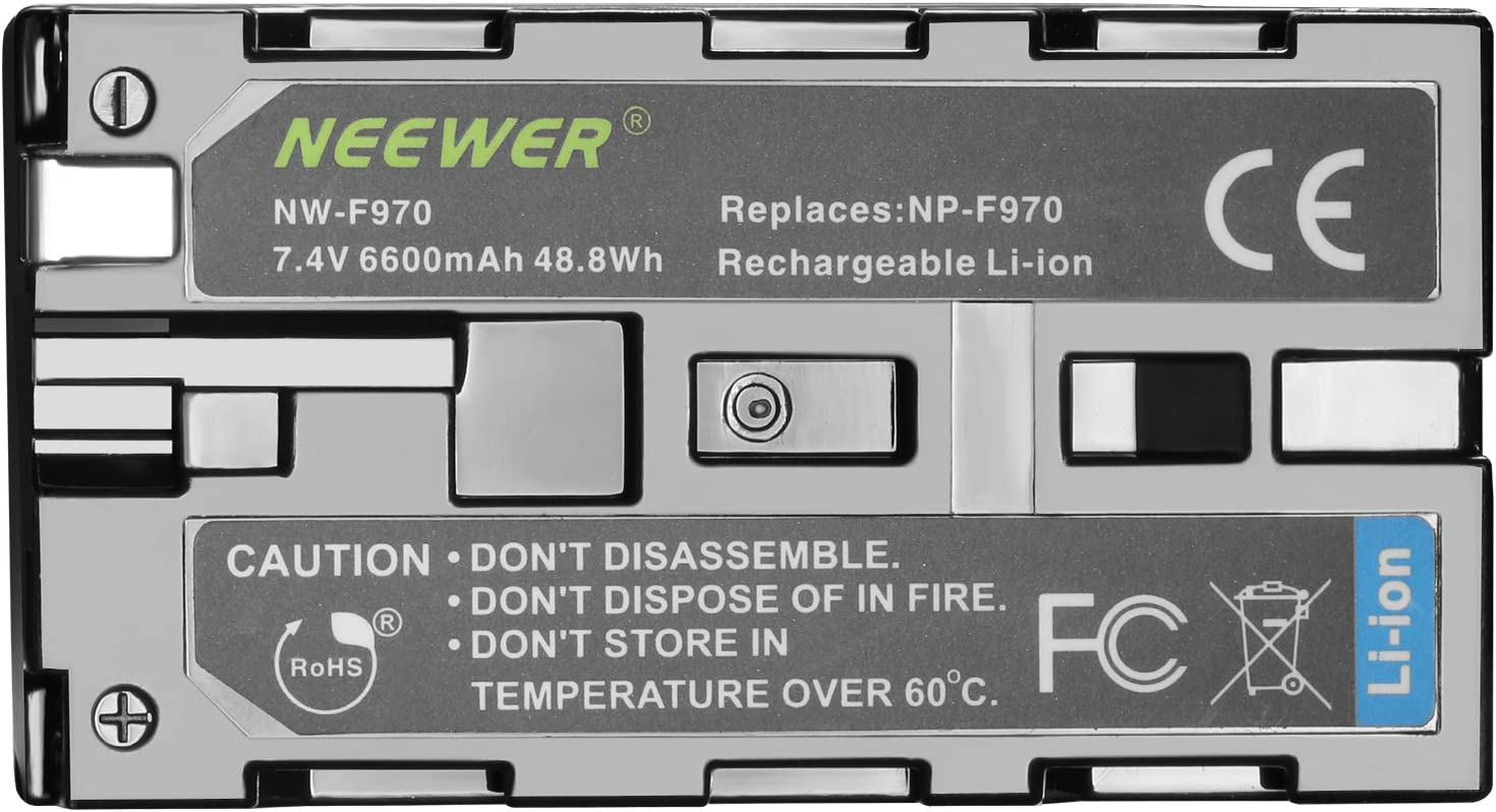CN160 FW568 F100 F200 FW700 LED Videoleuchte//Monitor Neewer 6600mAh Li-ION Akku f/ür Sony NP-F970 NP-F970 NP-F960 NP-F975 NP-F570 NP F750 NP-F770 und LCD Dual Ladeger/ät