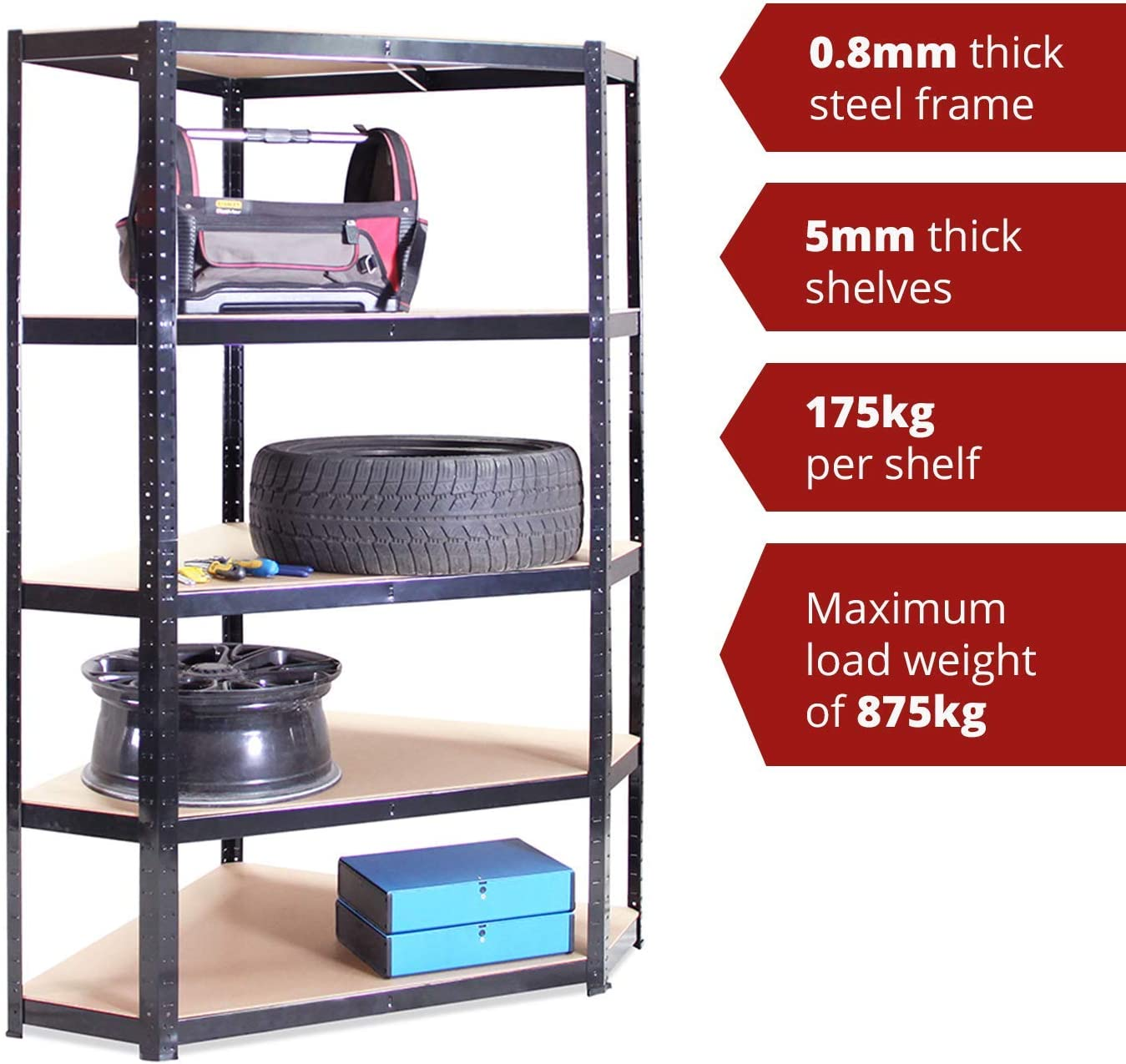875kg Capacity Heavy Duty Black Garage Storage 5 Tier Shelving Rack Corner Shelving Unit 180 x 90 x 45