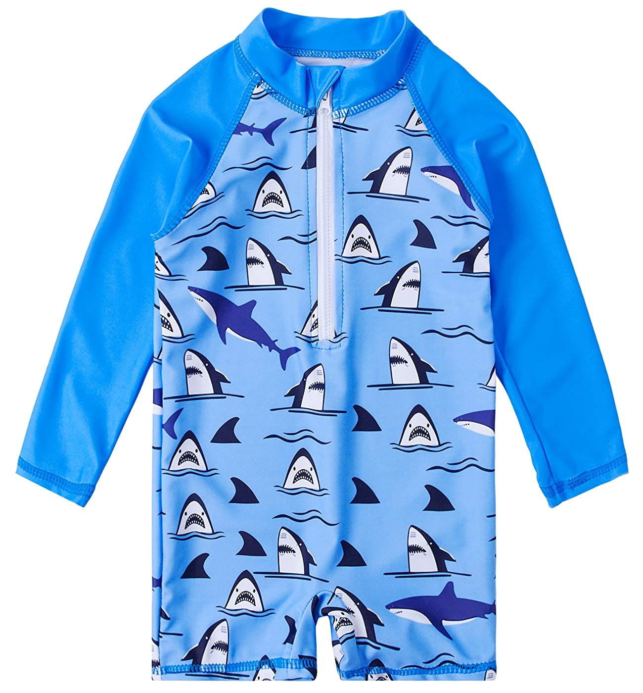 Uideazone Baby Toddler Boys Girls Zipper Rash Guard Swimsuit with UPF 50+ One Piece Beach Swimwear Bathing Suits 6-36 Months