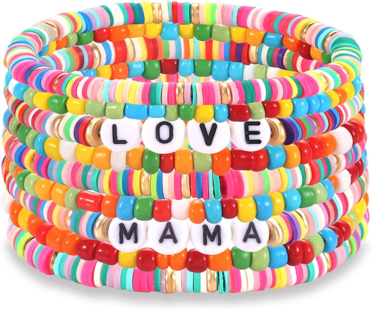 Heishi Bracelets for Women Colorful Vinyl Disc Bead Stretch Bracelets Stackable Beach Surf Letter Strand Bracelets for Girls Birthday Party Gifts