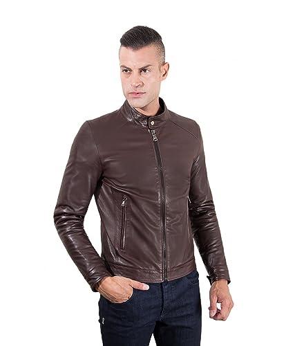Veste blouson en cuir homme marron foncé Made in Italy