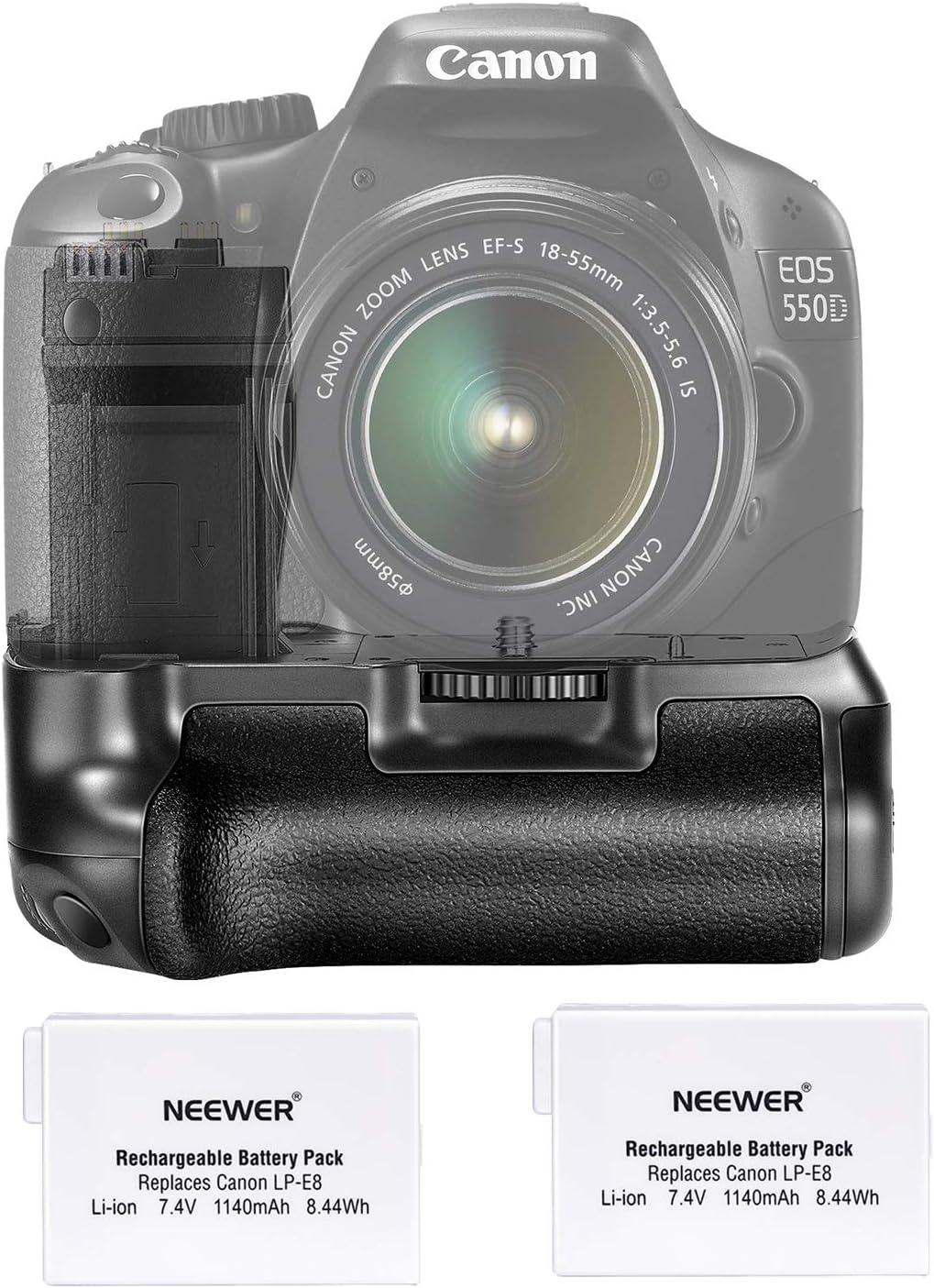 Neewer Pro Empuñadura de Batería (Reemplazo de BG-E8) para Canon EOS 550D/600D/650D/700D Rebel T2i/T3i/T4i/T5i + 2x Reemplazo de Batería LP-E8 7.4V 1140mAh: Amazon.es: Electrónica