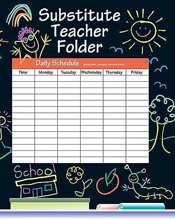 Amazon.com: CARSON DELLOSA Black Substitute Teacher Folder ...