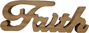 TAIANLE.Wood Faith Signs ,Natural Color,Free Standing Wooden Letters Faith,Country Primitive Vintage Tabletop/Shelf/Home Wall/Office Decoration Art, 12.6