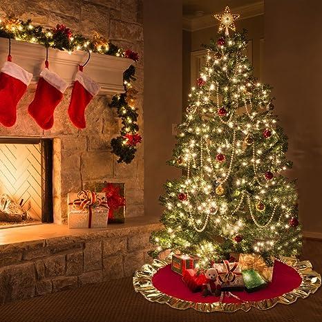 Immagini Decorazioni Di Natale.Aytai Rosso Albero Di Natale Gonna 90 Cm Unico Golden Ruffle Edge Per Decorazioni Di Natale Vacanza Decorazione