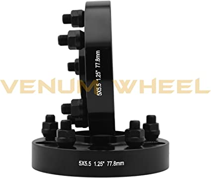 77.8mm Durango H.B 9//16 Lug Nuts 5x5.5 Black 1.25 Hub Centric Wheel Spacers Dakota Complete Set of Dodge Ram 04-09 05-11 2002-2011