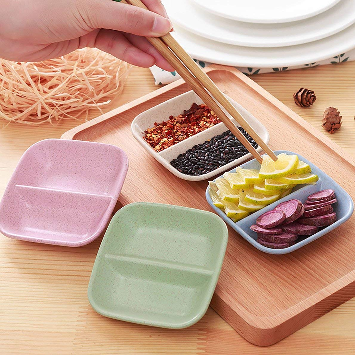 Creative Wheat Straw Seasoning Dish Japanese Style Sauce Vinegar Seasoning Pickles Snacks Small Dish Separate Small Dish Crispsounds