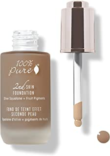 product image for 100% PURE 2nd Skin Foundation, Shade 7, Full Coverage, Lightweight, Blendable Formula, Satin Finish, Absorbs Oil, Anti-Aging, Natural, Vegan Makeup (Neutral w/Red Undertone) - 1.18 Fl Oz