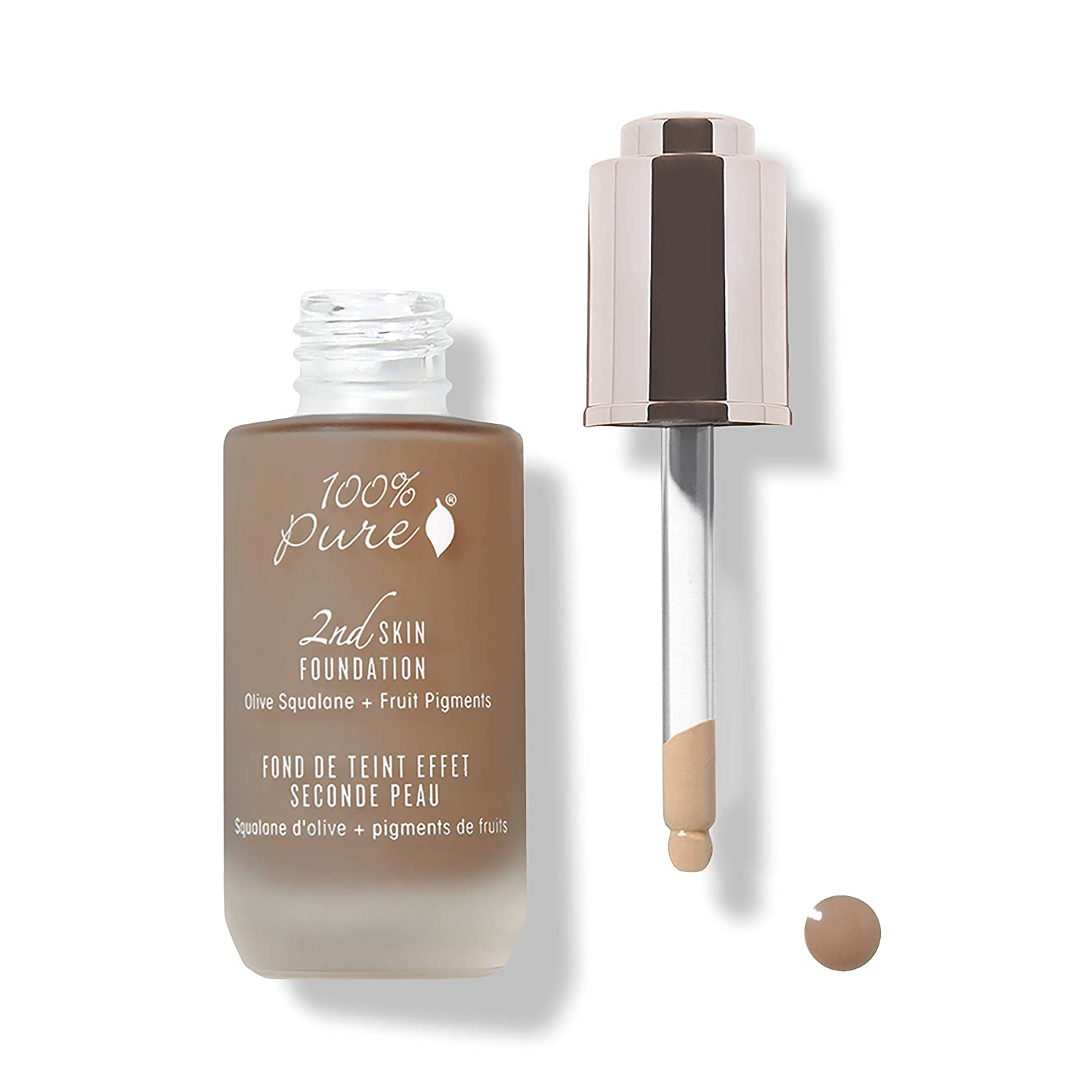 100% PURE 2nd Skin Foundation, Shade 7, Full Coverage, Lightweight, Blendable Formula, Satin Finish, Absorbs Oil, Anti-Aging, Natural, Vegan Makeup (Neutral w/Red Undertone) - 1.18 Fl Oz