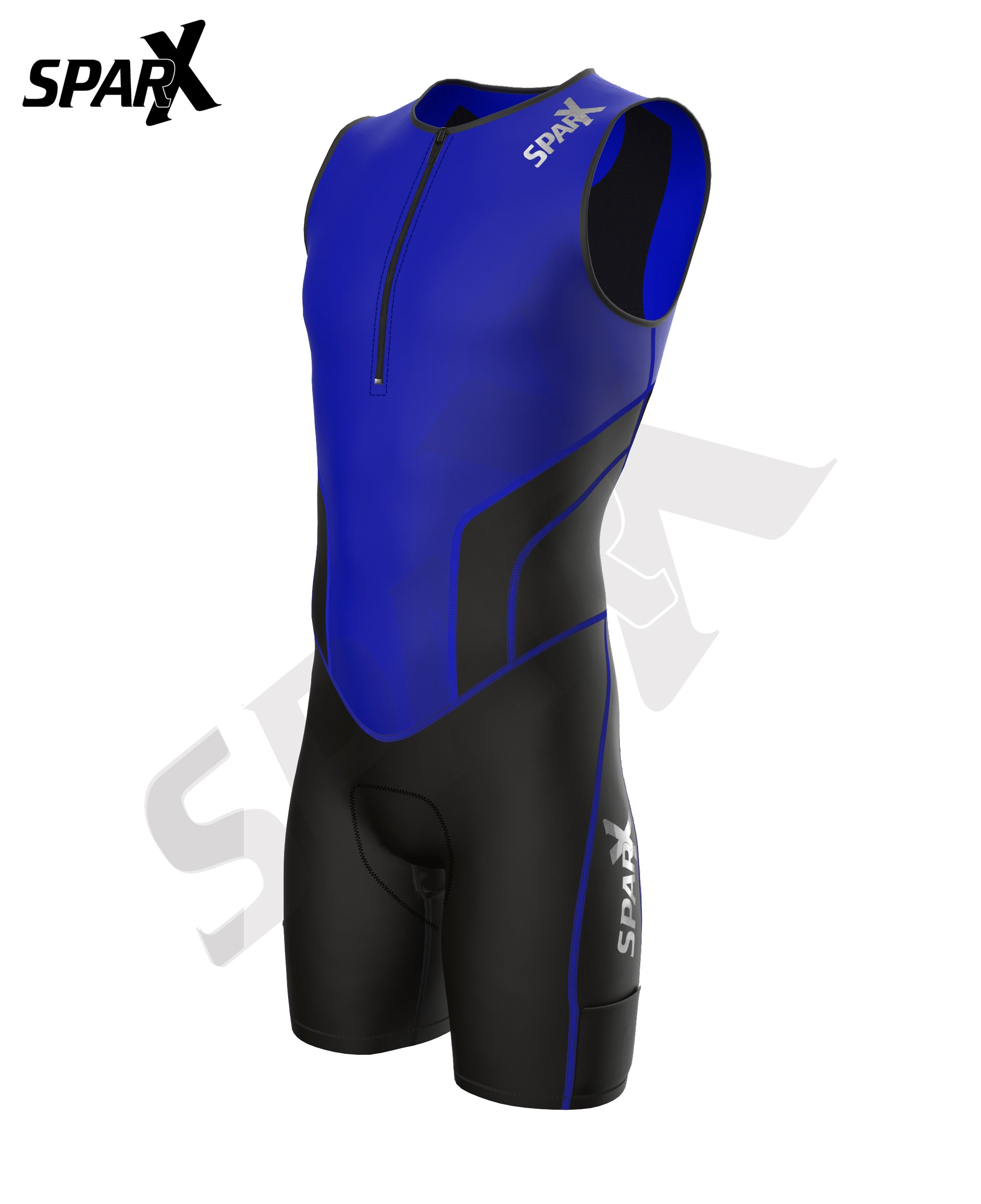 Sparx X Triathlon Suit Racing Tri Cycling Skin Suit Bike Swim Run (Blue, Large) by Sparx Sports (Image #2)