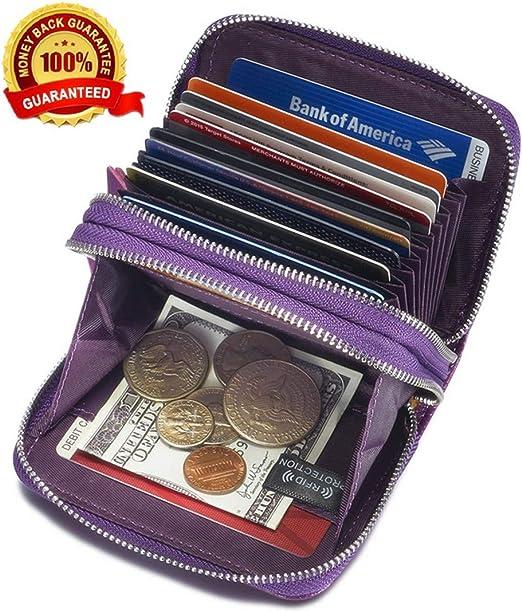 Women's Genuine Leather RFID Secured Spacious Cute Zipper Card Wallet