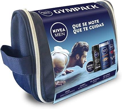 NIVEA MEN Neceser Gimnasio, pack de baño de 4 productos para hidratar la piel, set de regalo para hombre con crema, desodorante, champú y gel de ducha: Amazon.es: Belleza