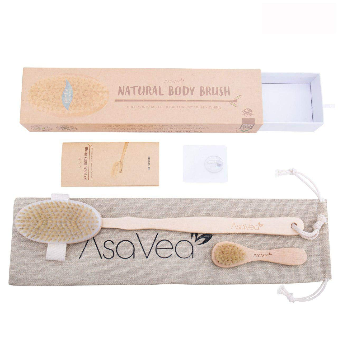 Nature Dry Body Brush & Dry Skin Brushing - Reduces Cellulite Stress All-Natural Materials Long Wood Handle Boar Bristle Brushy US Acrylic 5910