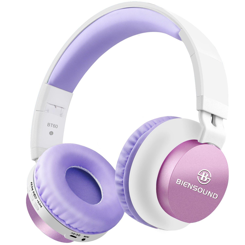 Bluetooth Headphones, Biensound BT60 Lightweight Foldable Headphones Wireless Bluetooth Headset with Microphone and Volume Control for iPad iPhone TV Laptop Computer Headphones (Pink&White)