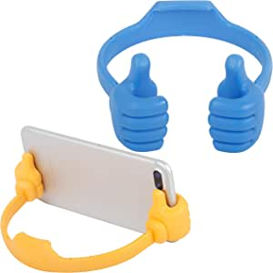 Thumbs Up Cell Phone Stand, SKOLOO Portable Desk Cell Phone Holder Mount, Smart Cellphone Tablet Holders, Unique Christmas Stocking Stuffers Holiday Fillers Gifts, Blue & Yellow