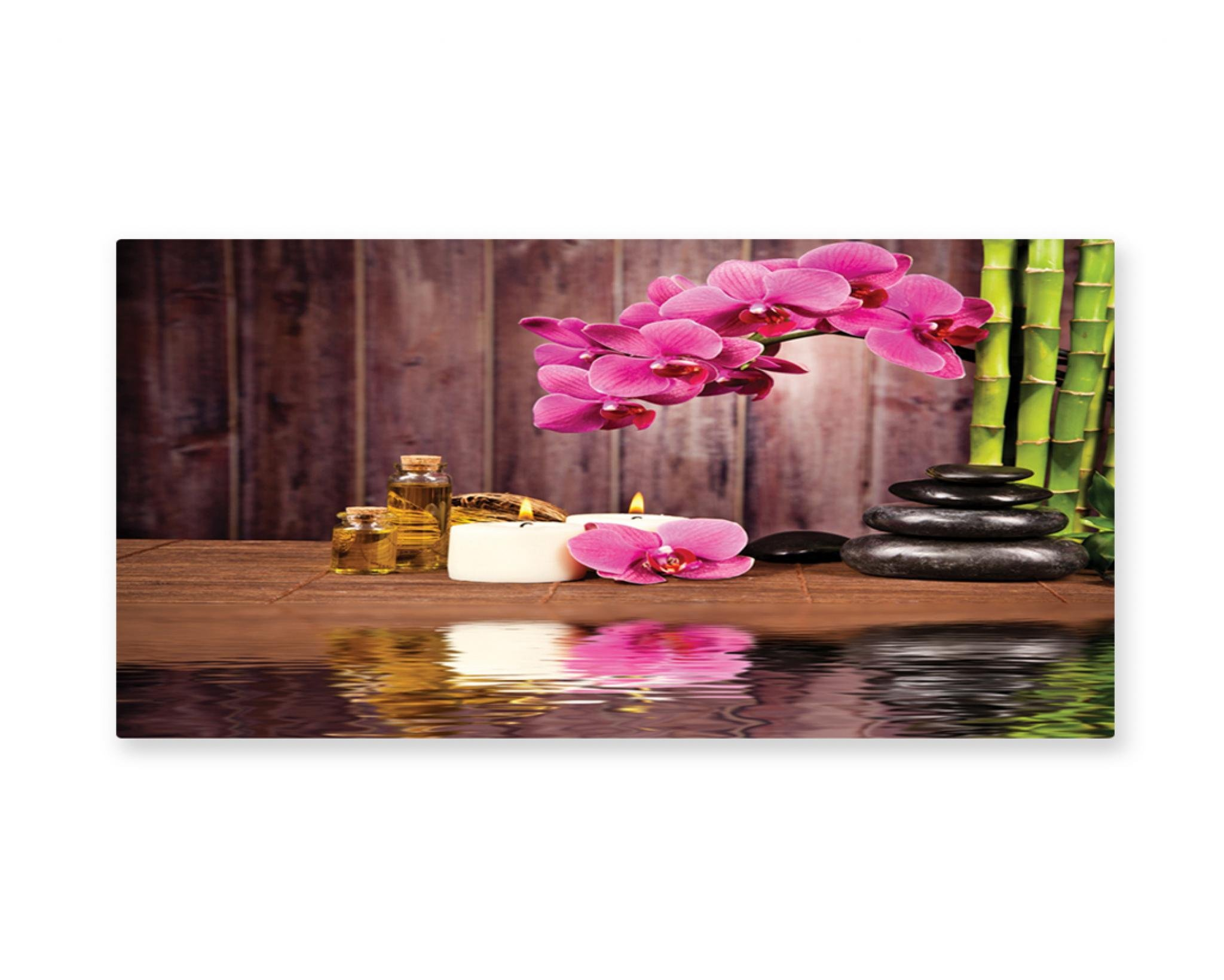 Ambesonne Spa Wall Art, Spa Flower and Water Reflection Aromatherapy Bamboo Blossom Candlelight Print, Gloss Aluminium Modern Metal Artwork for Wall Decor, 23.5 W X 11.6 L Inches, Pink Green Umber
