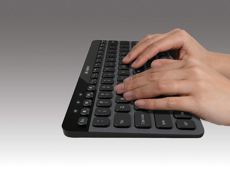 hands typing on logitech K810