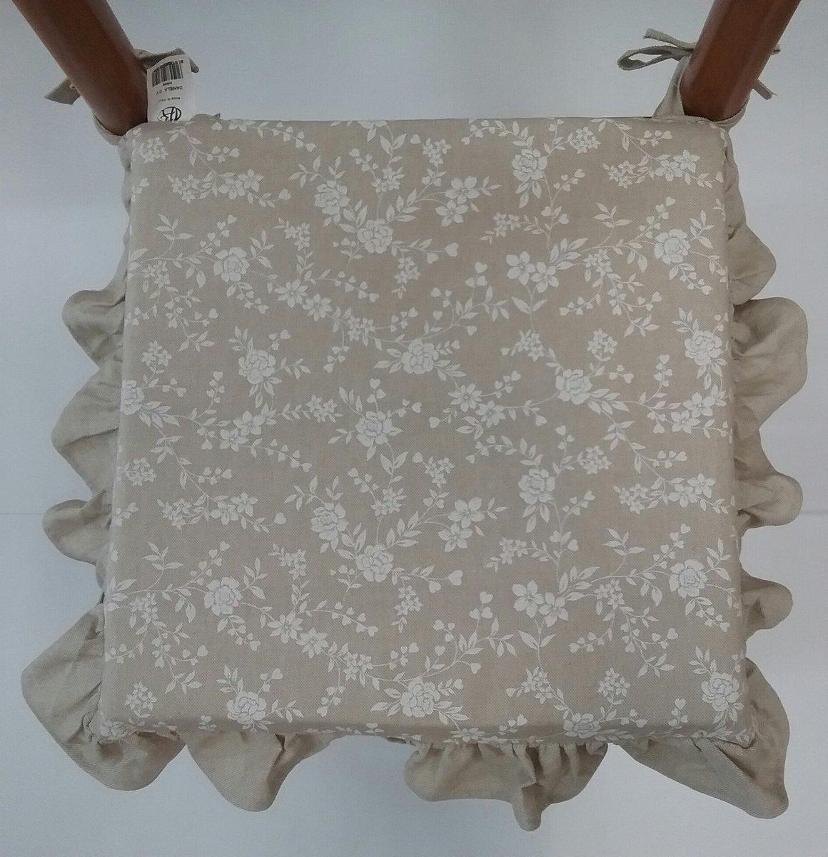 cuscini sedie cucina set 6 pezzi tessuto cotone pesante con volant con