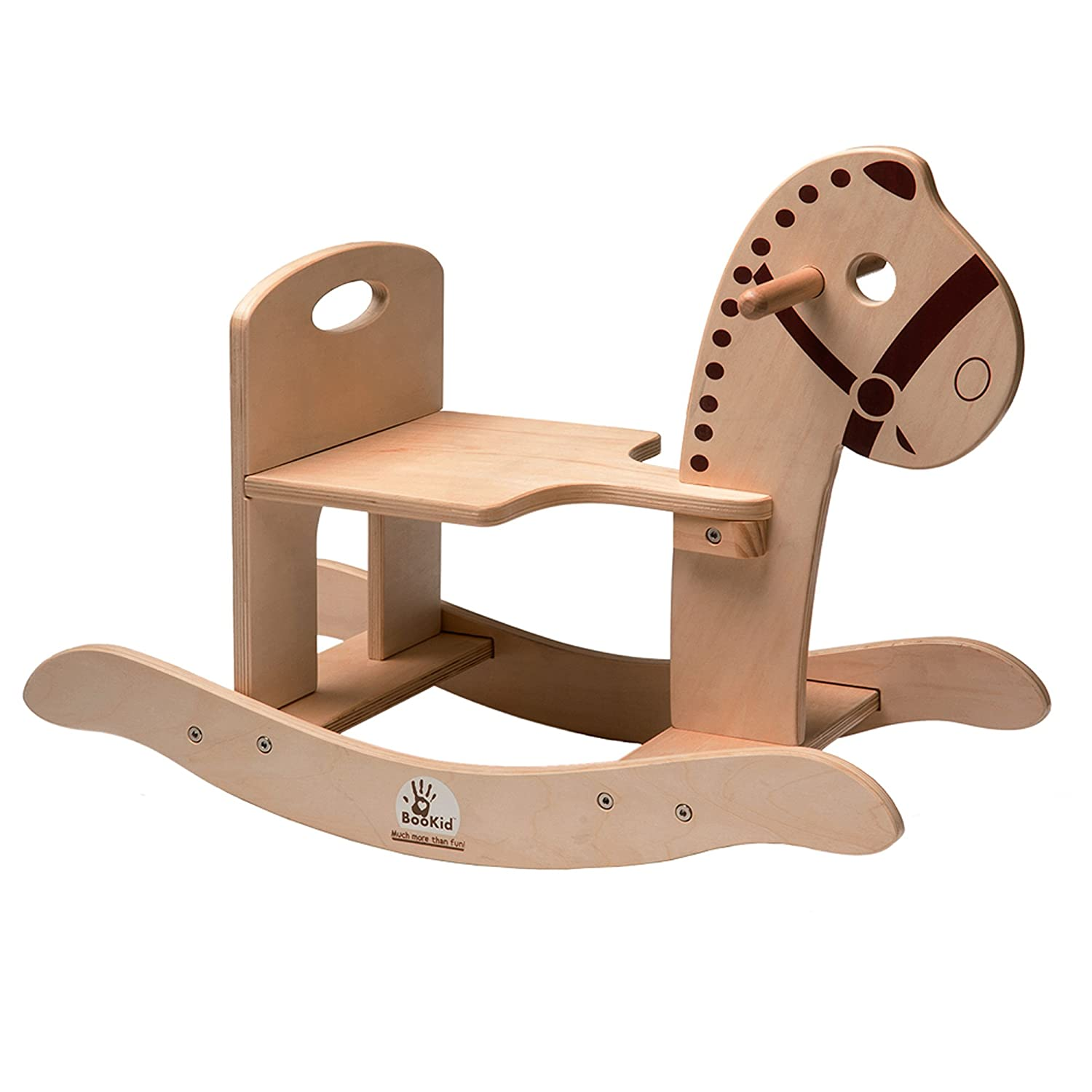 BooKid Durable and Colorful Wooden Rocking Horse Toy for Toddlers