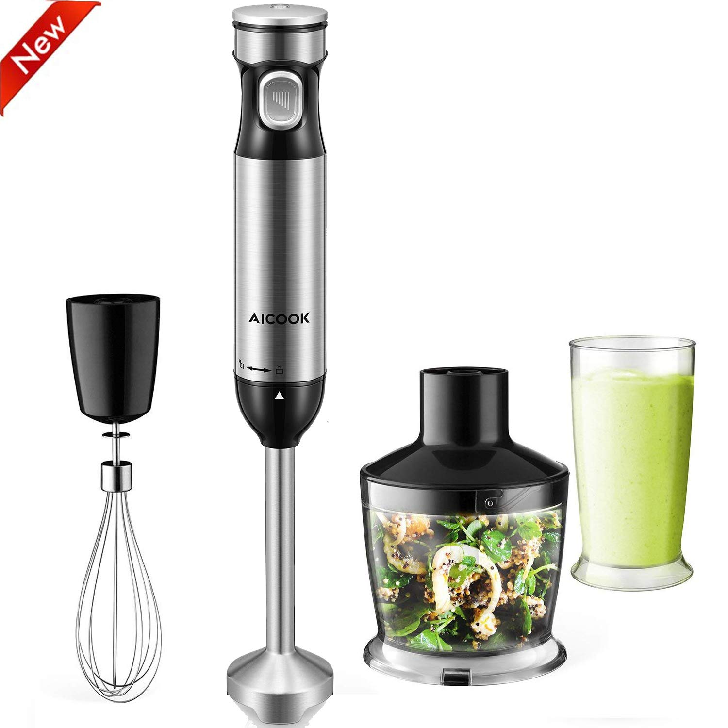 AICOOK Immersion Blender 4 in 1 Hand Blender with Stepless Speed Control Heavy Duty Copper Motor, Include hand blender stick, BPA-Free Beaker, Food Processor, Whisk Attachments, Titanium Coating Blade