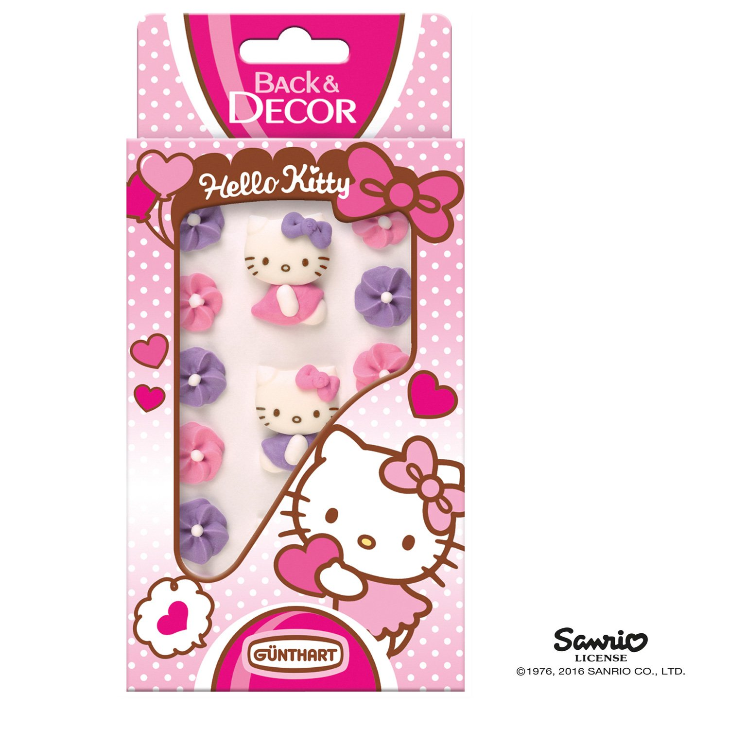 Günthart BackDecor Hello Kitty Zuckerfiguren mit Blumen