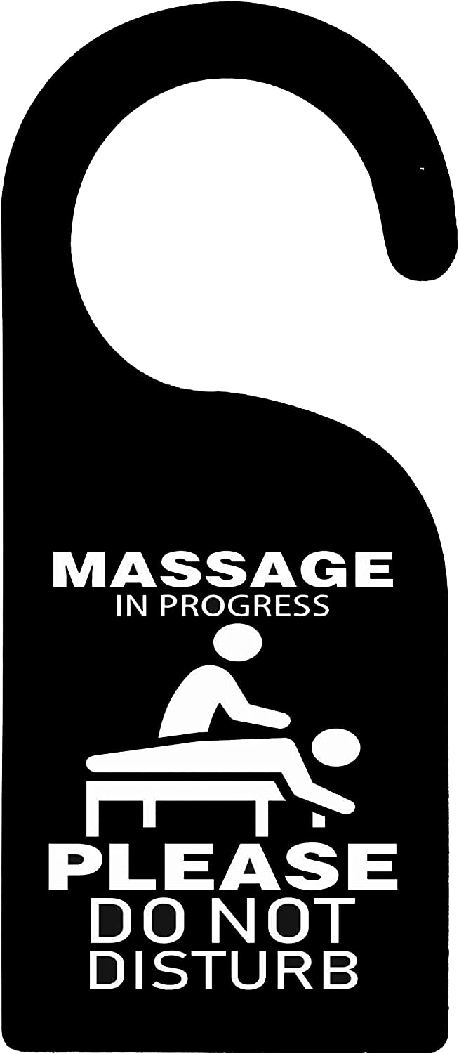 Mr kennys& Lucky 7 Massage in Progress Please Do Not Disturb- Durable Wooden Door Knob Hanger Sign for Home,Hotel,Office, Clinic, Therapy Warning Room Sign