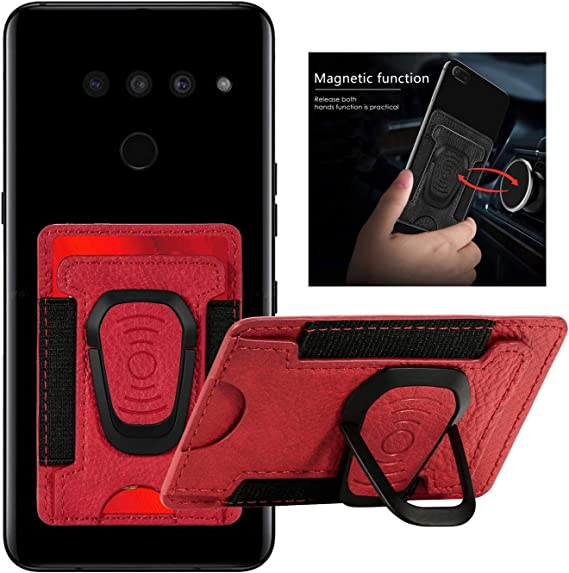 Amazon Com Damondy Lg K51 Phone Card Holder Wallet Pocket Credit Card Id Elastic Design Case Pouch Sleeve 3m Adhesive Sticker Kickstand Fit Car Magnetic For Lg K51 Red