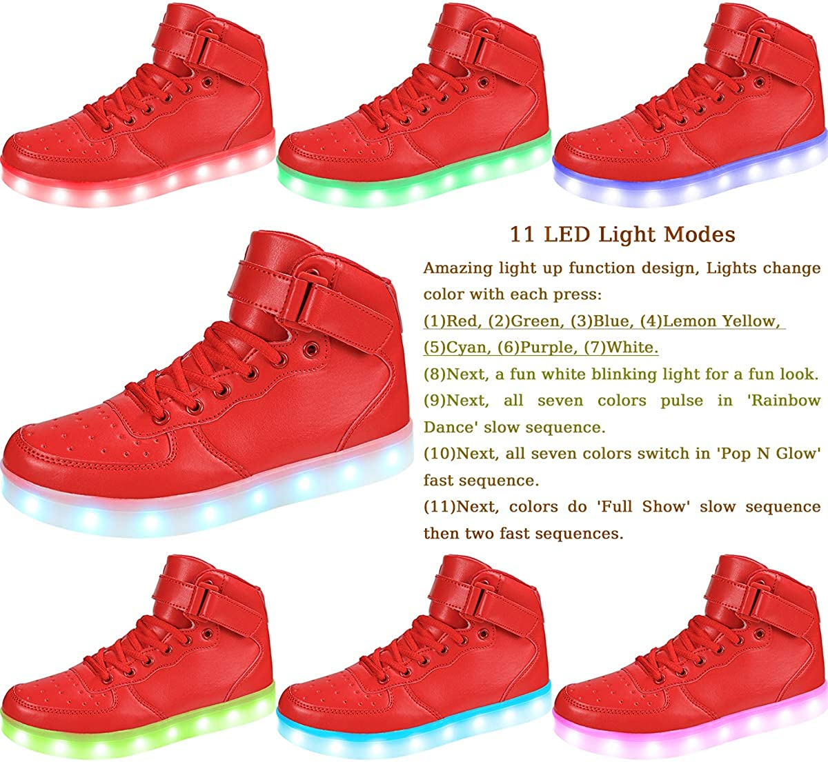 APTESOL Kids Youth LED Light Up Sneakers Unisex Boys Girls High Tops Cool Flashing Shoes for Toddler Littler Kid Big Kid