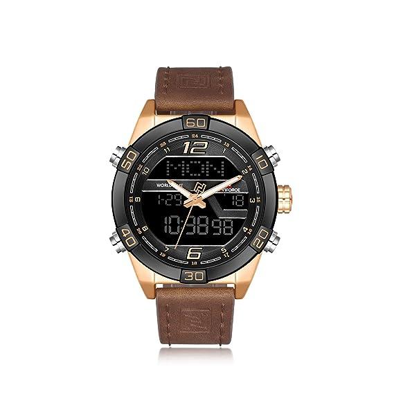 Naviforce - Reloj de Pulsera para Hombre, Estilo Militar, Correa de Piel analógica,