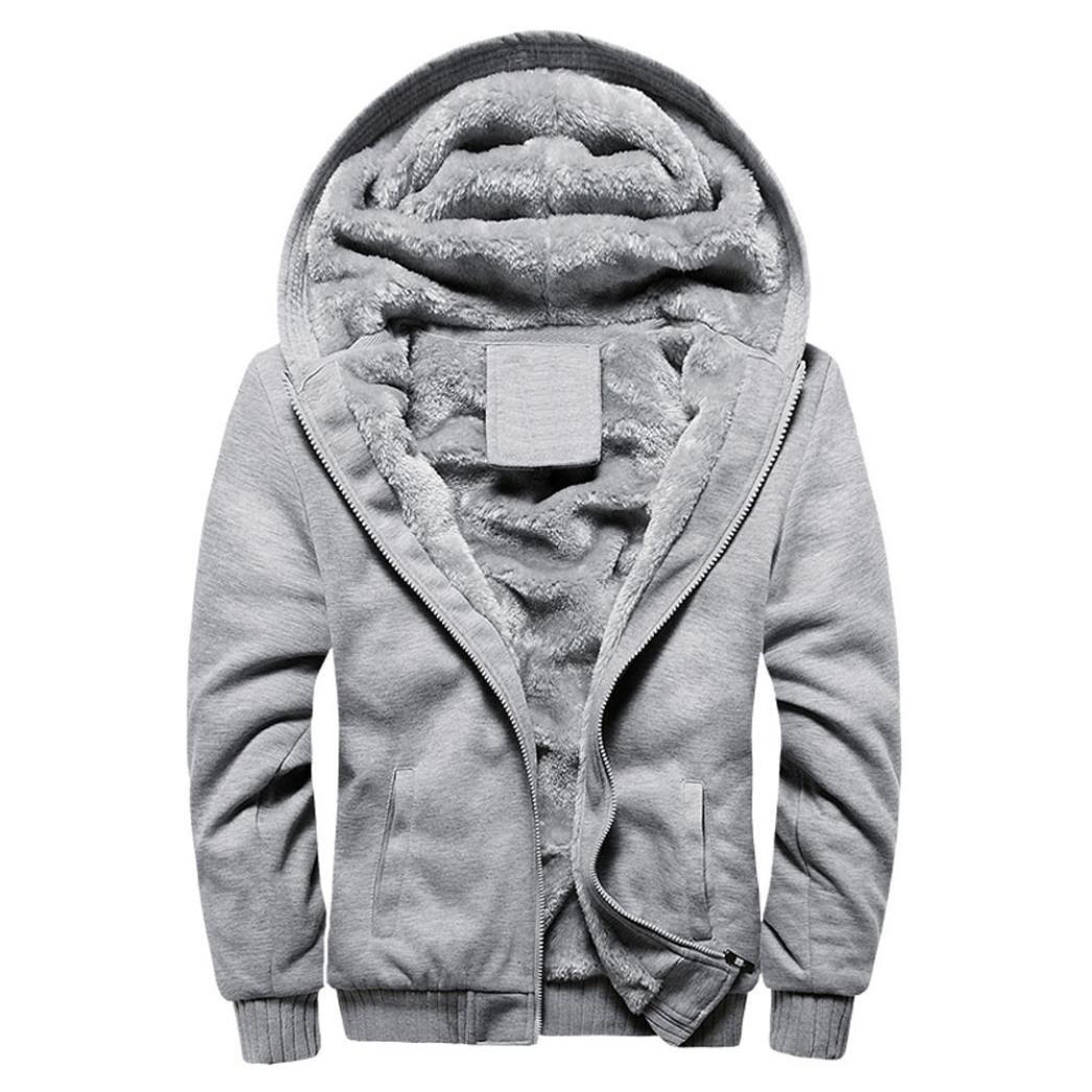 Men Warm Jacket,Vanvler Male Winter Thick Fleece Outwear Coat Zipper Sweater Plus Size