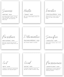 Definition Motivational Wall Art Prints | Set of Nine Prints | 8x10 Unframed | Success, Hustle, Execution, Persistence, Determination, Sacrifice, Grit, Grind, Perseverance