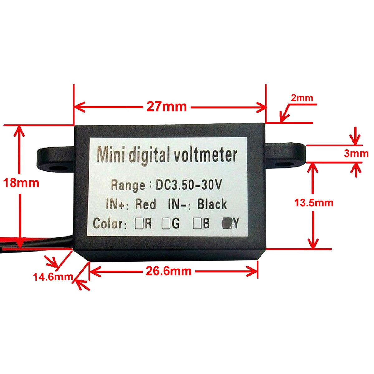 Motorcycle Voltmeter Wiring Diagram Trusted Schematics Alternator With Drok Micro 3 50 30 0v Digital Voltage Panel Meter Dc 12v Gm