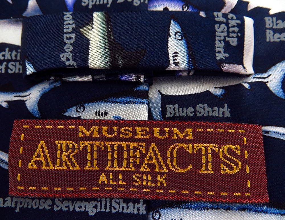 Blue Museum Artifacts Sharks Necktie One Size Neck Tie