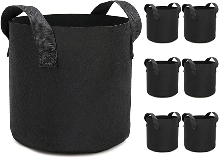 HOOPLE 6Pack 20 Gallon Grow Bags Garden Heavy Duty Non-Woven Aeration Plant Fabric Pot Potato Container Perfect for Potato,Strawberry,Chili,Carrot,Radish,Peanut and Other Vegetables(Black) (20 gallon)