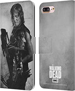 Head Case Designs Officially Licensed AMC The Walking Dead Daryl Double Exposure Leather Book Wallet Case Cover Compatible with Apple iPhone 7 Plus/iPhone 8 Plus