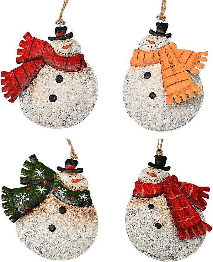 Christmas Hanging Ornament Metal Snowman Decor Set Of 4 4x3 5 Inch Rustic Christmas Tree Snowman Decoration Tree Ornament Wall Door Hanging Decoration Party Decor Snowman Ornament Furniture Decor Amazon Com